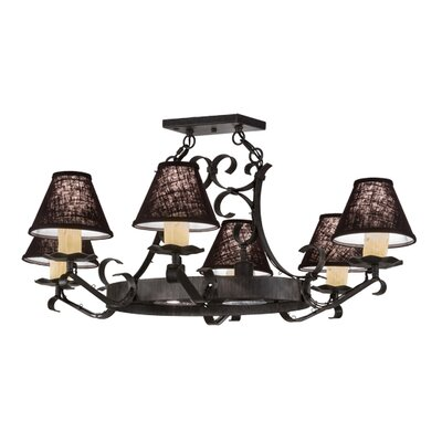 Greenbriar Oak Handforged 6-Light Semi Flush Mount