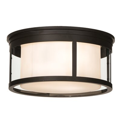 Greenbriar Oak Cilindro Campbell 3-Light Flush Mount