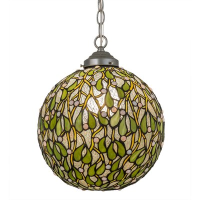 Greenbriar Oak Mistletoe Ball 1-Light Globe Pendant
