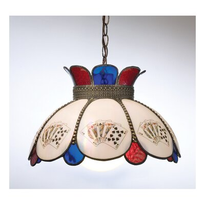 Robin with Playing Card 1-Light Bowl Pendant