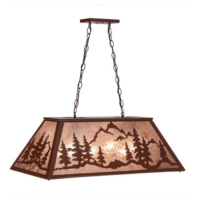 Greenbriar Oak Mountain Range 6-Light Kitchen Island Pendant