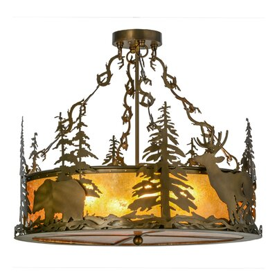 Greenbriar Oak Wildlife at Dusk 4-Light Semi-Flush Mount