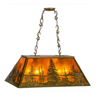 Greenbriar Oak Tall Pines Oblong 6-Light Pendant