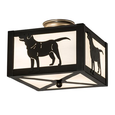 Greenbriar Oak Labrador Retriever 2-Light Semi-Flush Mount