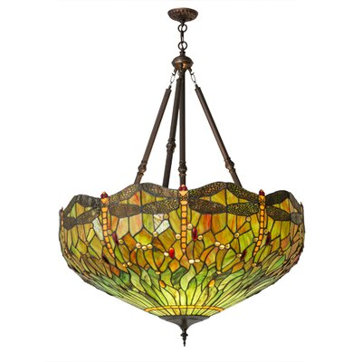 Greenbriar Oak Tiffany Hanginghead Dragonfly 4-Light Inverted Pendant