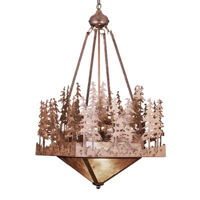Pine Lake 4-Light Inverted Pendant Finish: Antique Copper/Silver Mica