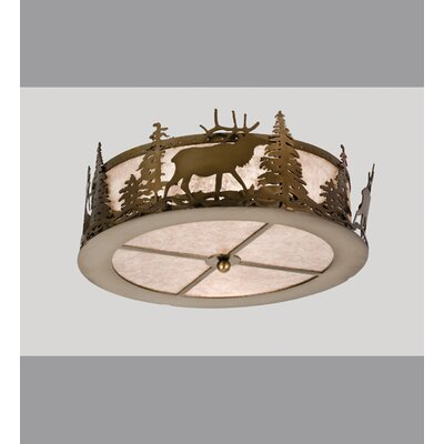 Elk at Dusk 2-Light Flush Mount