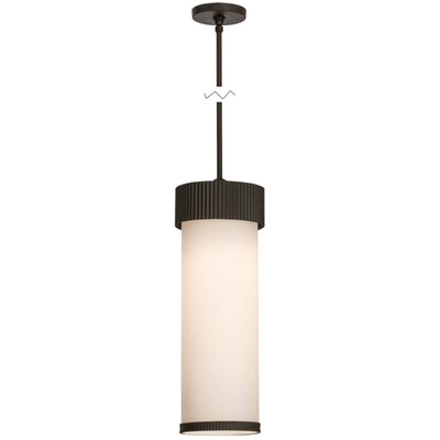 Greenbriar Oak Cilindro Corrugated 1-Light Mini Pendant Size: 60 H x 8 W x 8 D