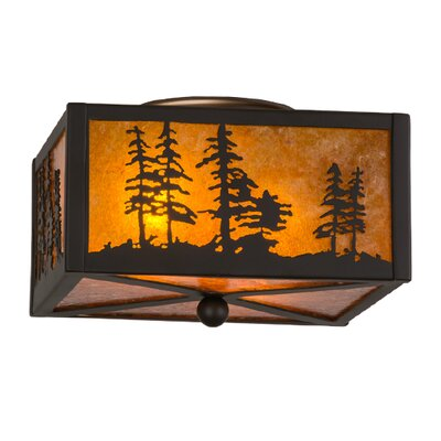 Greenbriar Oak Tall Pines 2-Light Flush Mount