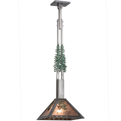 Greenbriar Oak Winter Pine Tall Pines 1-Light Mini Pendant