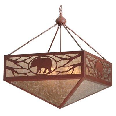 Greenbriar Oak Lone Bear 6-Light Inverted Pendant