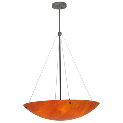 Greenbriar Oak Cypola Sterling Flame 6-Light Inverted Pendant
