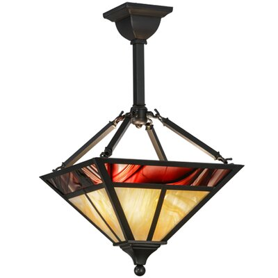 Greenbriar Oak T Mission 2-Light Inverted Pendant