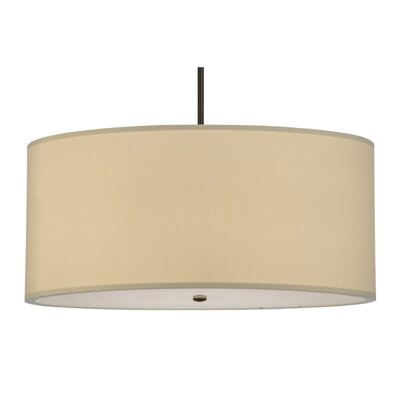 Greenbriar Oak Cilindro Eggshell Textrene 6-Light Drum Pendant