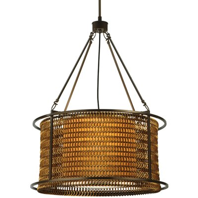 Greenbriar Oak Maille 4-Light Drum Pendant Size: 54 H x 24 W x 24 D