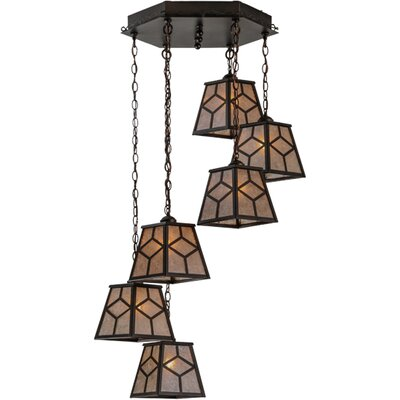 Greenbriar Oak 6-Light Cascading Pendant