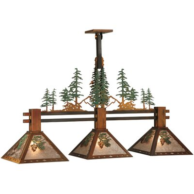 Greenbriar Oak Winter Pine Tall Pines 3-Light Kitchen Island Pendant