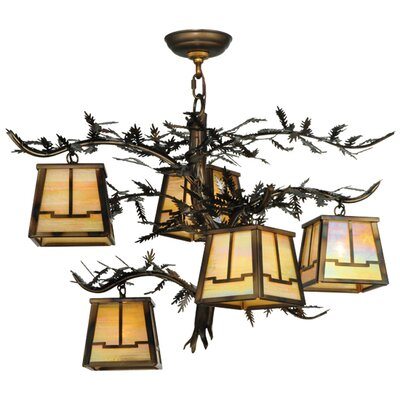 Greenbriar Oak Pine Branch Valley View 5-Light Shaded Chandelier