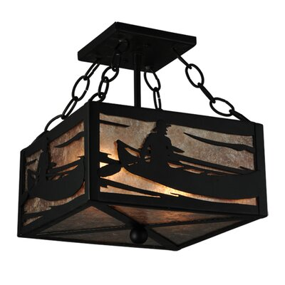 Greenbriar Oak Canoe At Lake 2-Light Semi-Flush Mount