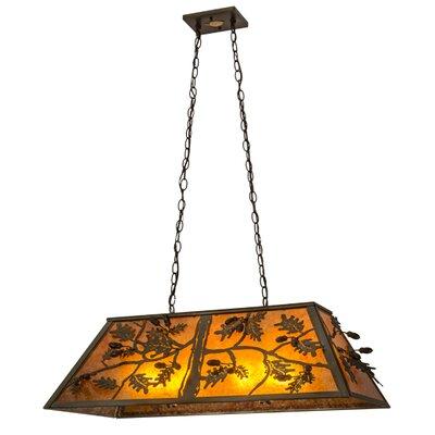 Oak Leaf and Acorn Oblong 6-Light Kitchen Island Pendant