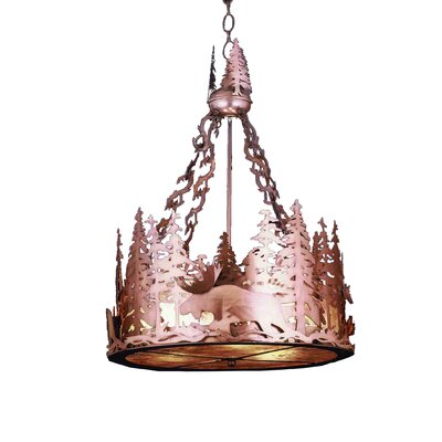 Moose at Dusk 3-Light Inverted Pendant Finish: Antique Copper, Shade Color: Silver