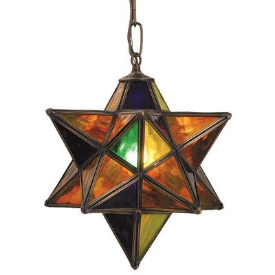 Mission Moravian 1-Light Iridescent Pendant Finish: Multi-Stone