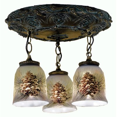 3-Light Hand Painted Semi Flush Mount