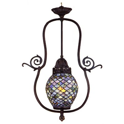 Victorian Tiffany Nouveau 1-Light Fishscale Foyer Pendant