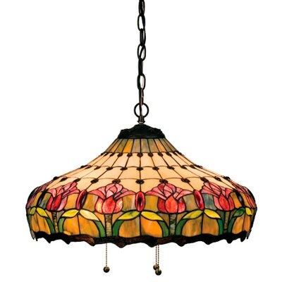 Victorian Tiffany Nouveau Colonial 3-Light Bowl Pendant