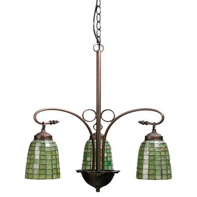 Victorian Tiffany Terra Verde 3 Light Chandelier