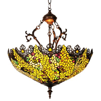 Victorian Tiffany Laburnum 3-Light Inverted Pendant