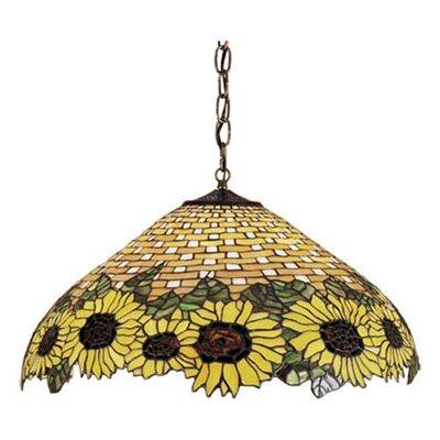 Wicker 3-Light Sunflower Pendant