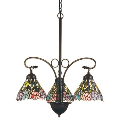 Victorian Tiffany Wisteria 3-Light Shaded Chandelier