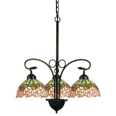 Tiffany Cabbage Rose 3-Light Shaded Chandelier