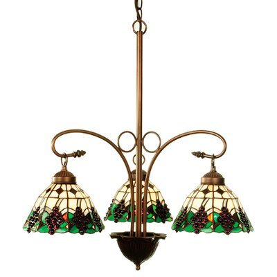 Tiffany Fruit Grape 3-Light Shaded Chandelier