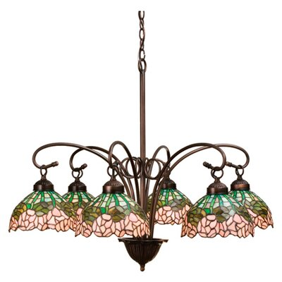 Tiffany Cabbage Rose 6-Light Shaded Chandelier