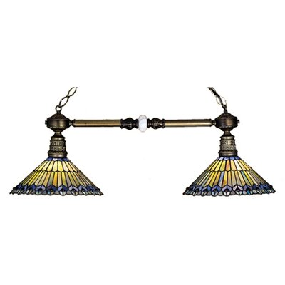Tiffany Jeweled Peacock 2-Light Billiard Light