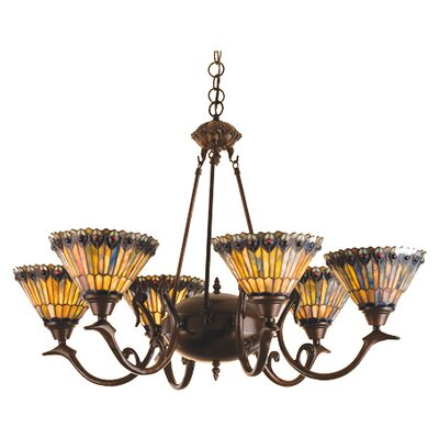 Tiffany Jeweled Peacock 6-Light Shaded Chandelier