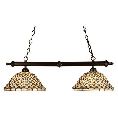 Tiffany Diamond and Jewel 2-Light Pool Table Light