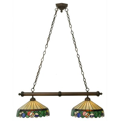 Tiffany Green Billiard 2-Light Kitchen Island Pendant