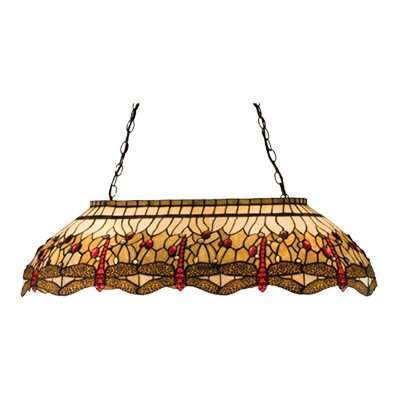 Victorian Tiffany Hanginghead Dragonfly Oblong 6-Light Pool Table Light