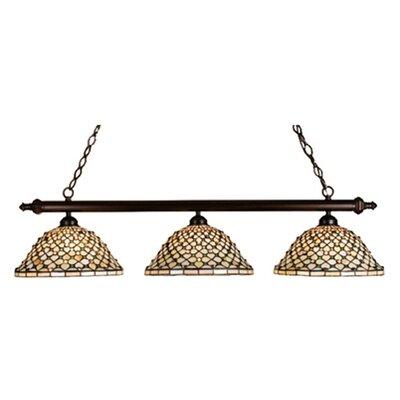 Tiffany Diamond and Jewel 3-Light Pool Table Light