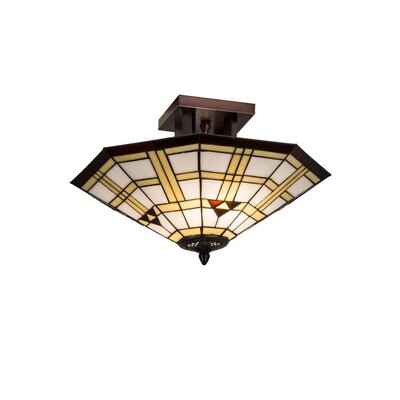 2-Light Mission Southwest Arrowhead Semi Flush Mount