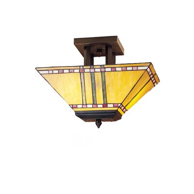 2-Light Corn Oblong Semi Flush Mount