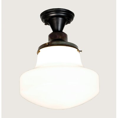 Revival Schoolhouse with Classic Globe 1-Light Semi Flush Mount
