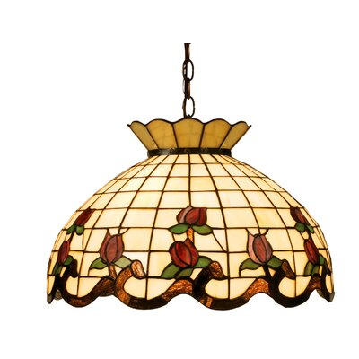Victorian 3-Light Tiffany Bowl Pendant