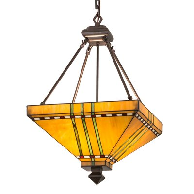 Mission Stickley Prairie Corn 4-Light Inverted Pendant