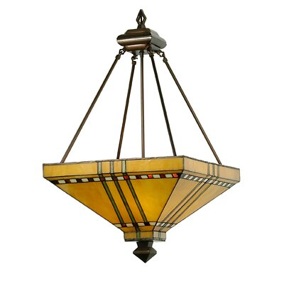 Mission Stickley Prairie Corn 3-Light Inverted Pendant