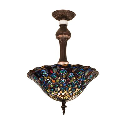 3-Light Tiffany Peacock Feather Semi Flush Mount