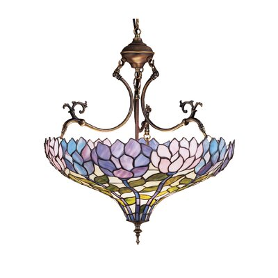 Tiffany Wisteria 3-Light Inverted Pendant